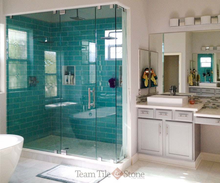 glass enclosed tiled shower - Bathroom Remodel Corner Shower
