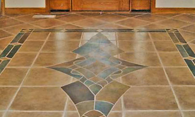 Colored Tile And Stone Entry Way Floor