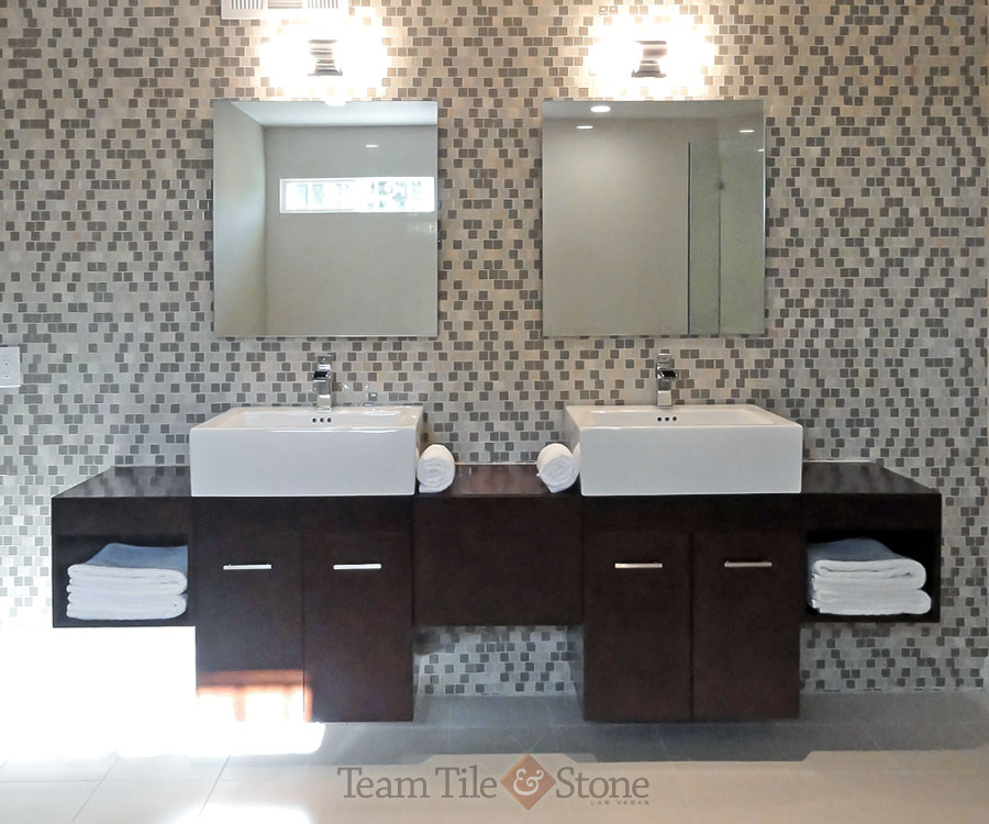 Custom Bathroom Vanity Of Wood, Vessel Sinks And Tiled Floor