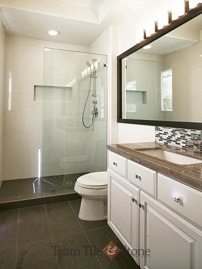 custom shower tub combo. Natural stone and tile bath remodel  glass shower enclosure Las Vegas Bathroom Remodel Masterbath Renovations Walk in Shower